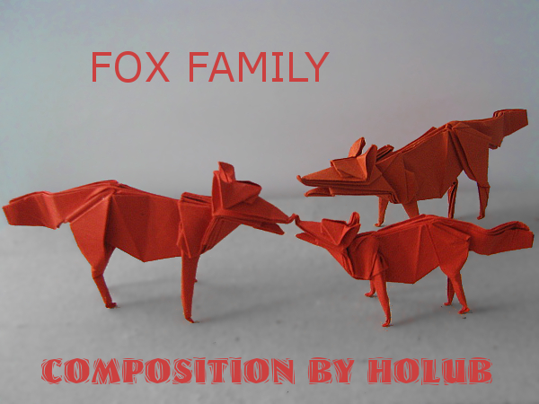 origami liščí kompozice