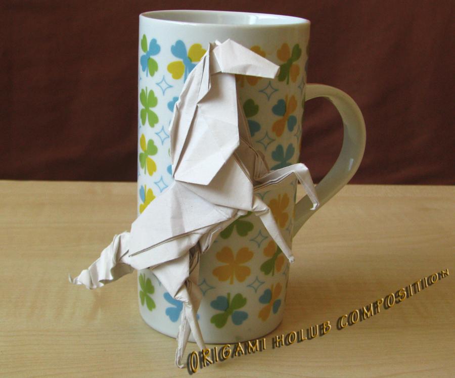 origami kompozice kůň