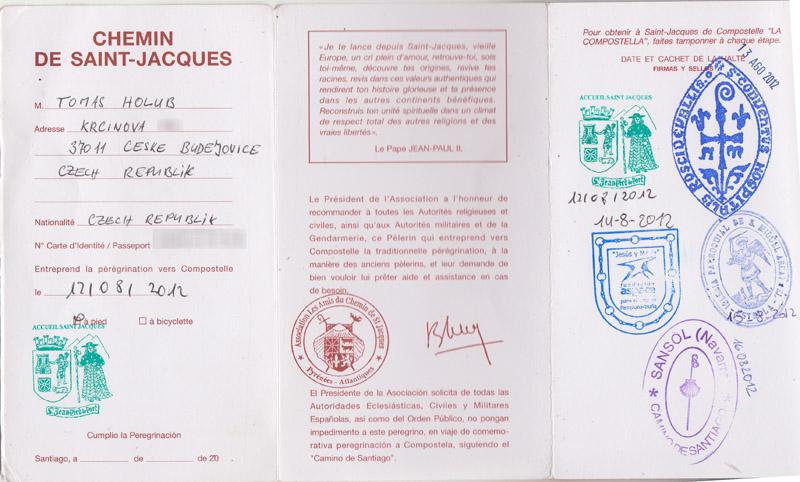 poutnický pas - vnitřek